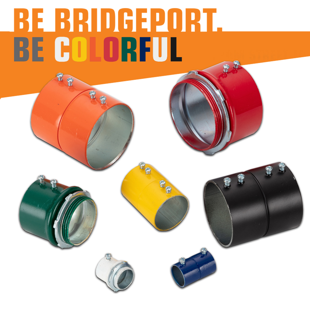 Bridgeport Fittings' Color-Coded EMT Steel Connectors and Couplings Make Circuit Installation Easier and Quicker than Ever